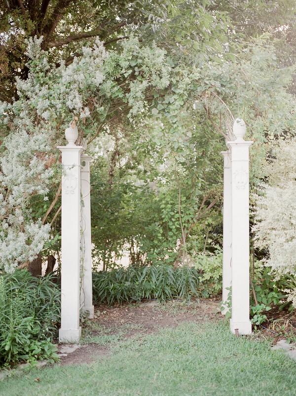 Pillars in garden of Barr Mansion in Austin, Texas