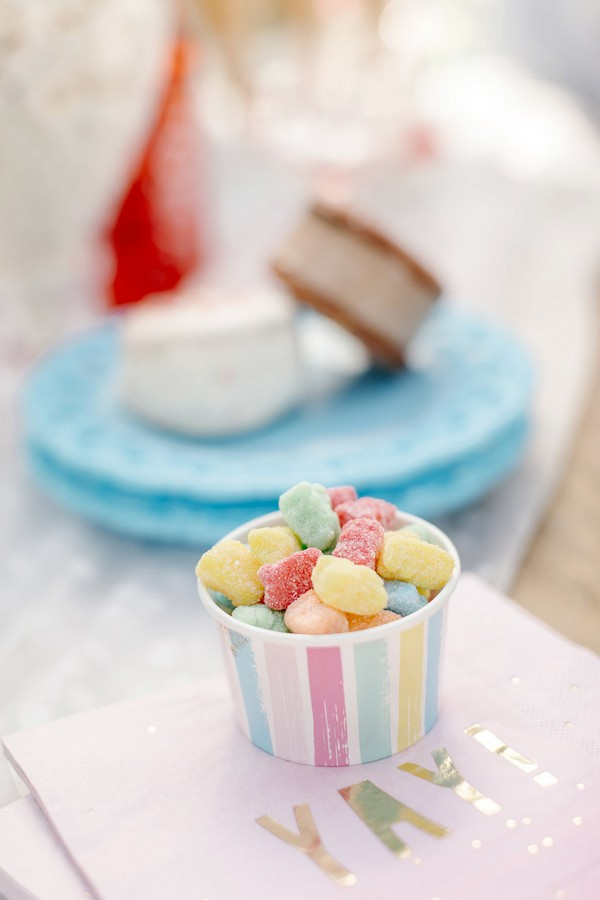 Small tub of colourful sweets