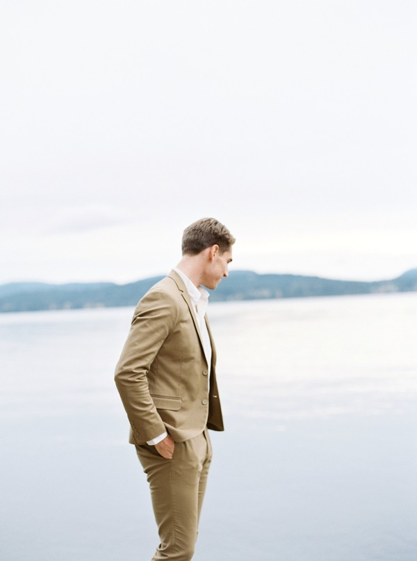 Groom wearing beige suit