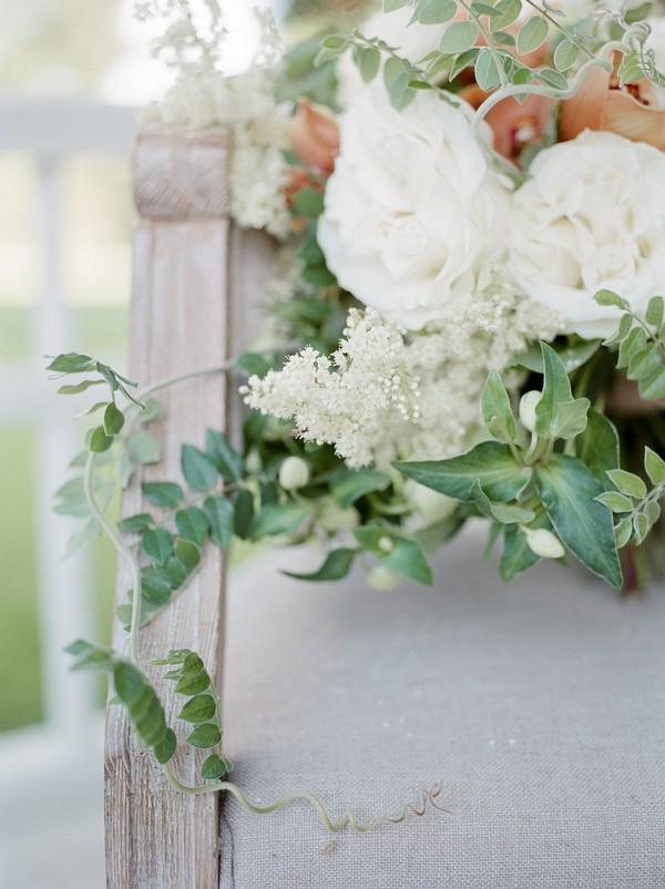 Trailing foliage of bridal bouquet
