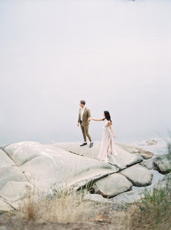 Bride and groom on rocks on Galiano Island