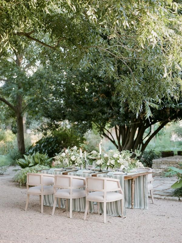 Wedding table in garden under tree