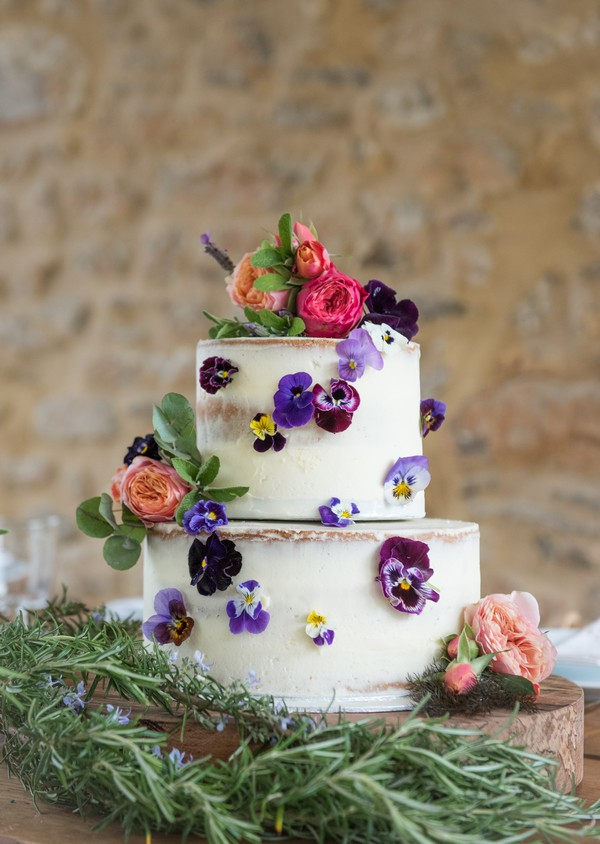 Wedding cake with edible flowers