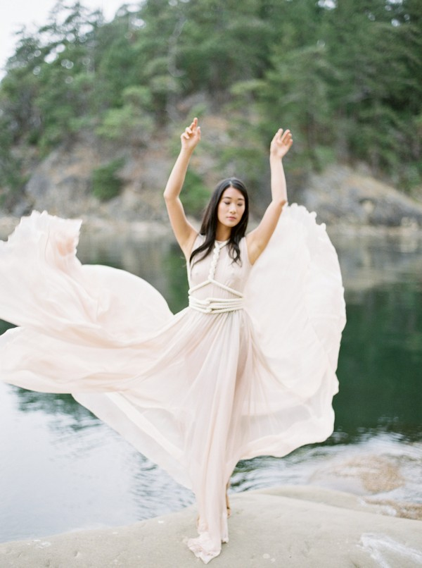 Bride with arms above head