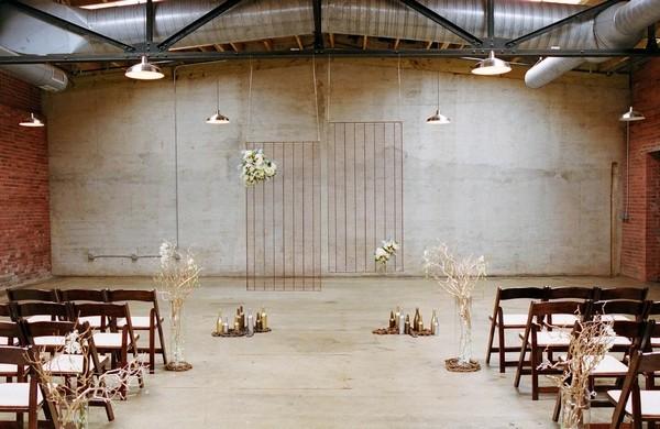 Ceremony Backdrop in Warehouse Wedding Venue