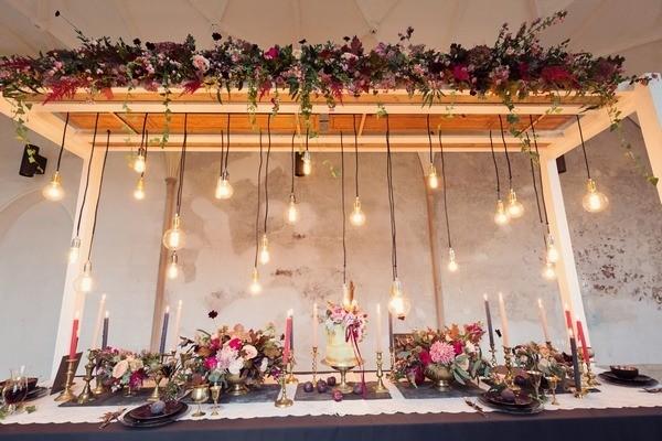 Edison Lighting Hanging Over Wedding Table