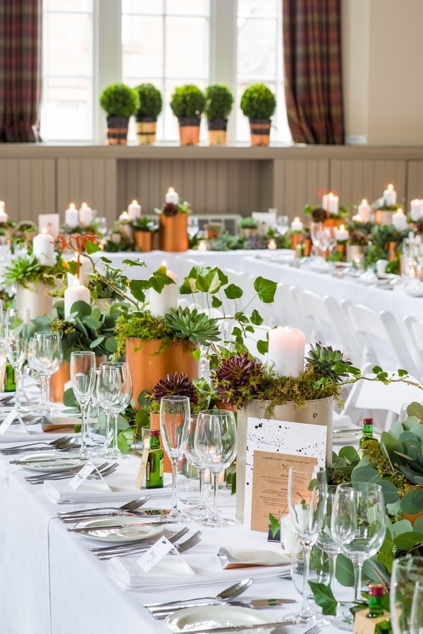 Long Wedding Table Styled with Copper and Greenery