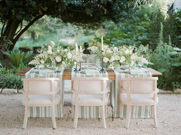 Garden wedding table styled with flowers