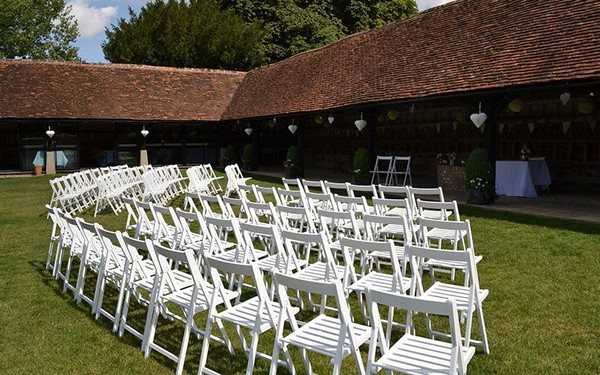 Outdoor Wedding Ceremony Seating at Lains Barn