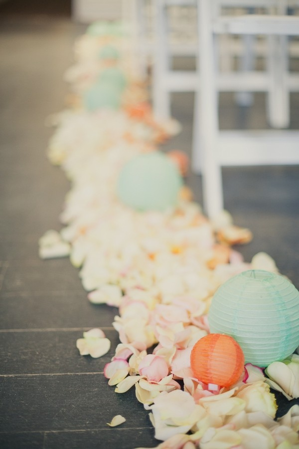 Wedding Ceremony Styling with Petals and Lanterns Down Aisle