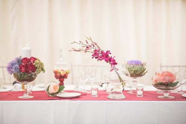 Various Flowers Used as Wedding Table Centrepieces