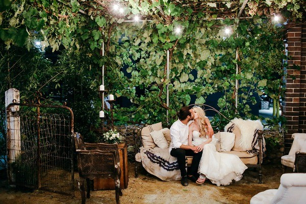 Wedding Chill-Out Area with Foliage Backdrop