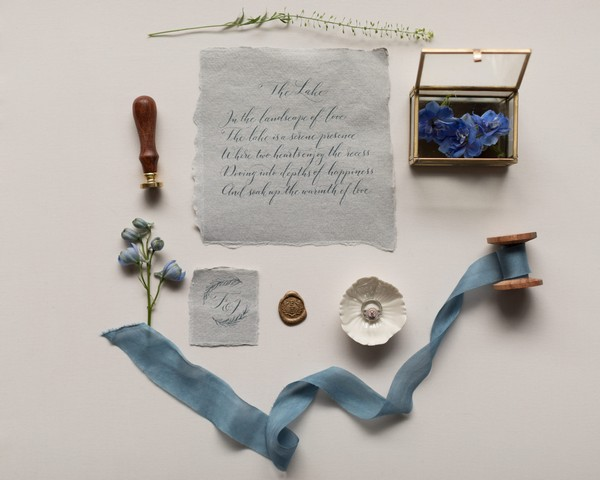 Calligraphy, ribbon and other items