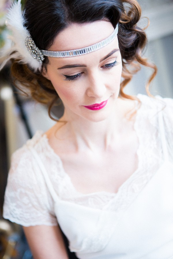 1920s bride with feather headband