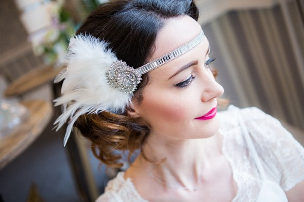 1920s bride's feather headband