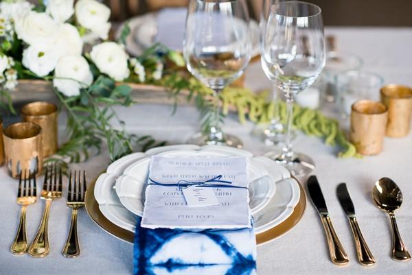 Wedding place setting with indigo Shibori napkin