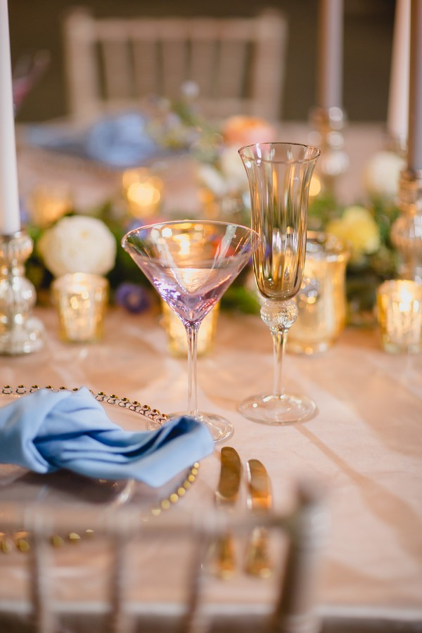 Glasses at wedding place setting