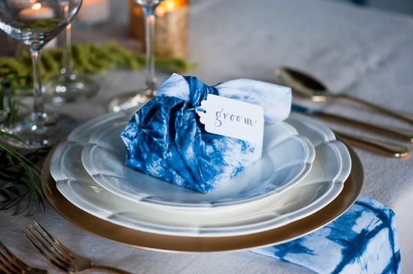 Indigo Furoshiki wrapped gift on wedding plate