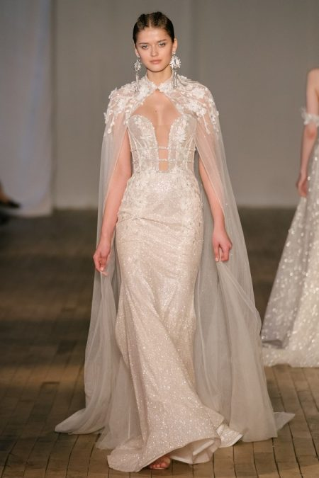 19-06 Wedding Dress with Cape from the BERTA Spring/Summer 2019 Bridal Collection