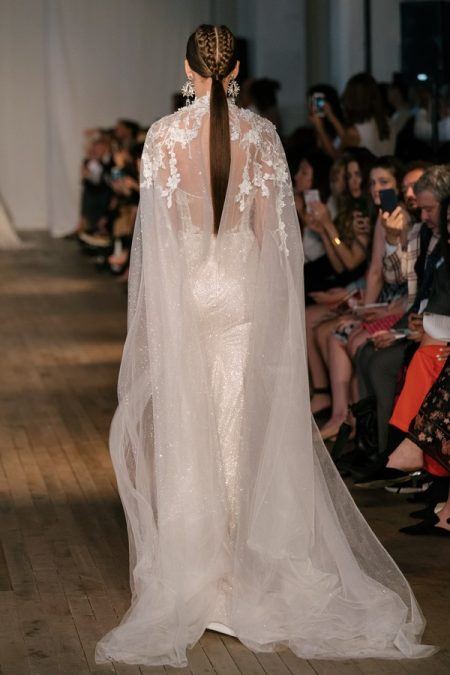 Back of 19-06 Wedding Dress with Cape from the BERTA Spring/Summer 2019 Bridal Collection
