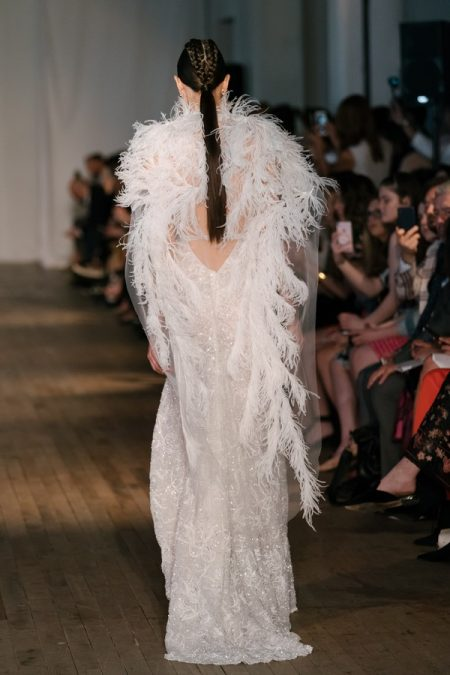 Back of 19-23 Wedding Dress with Feather Cape from the BERTA Spring/Summer 2019 Bridal Collection