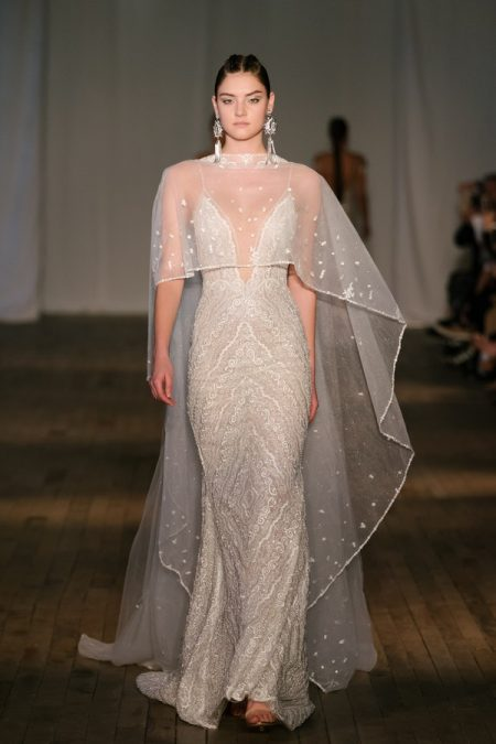 19-24 Wedding Dress with Cape from the BERTA Spring/Summer 2019 Bridal Collection