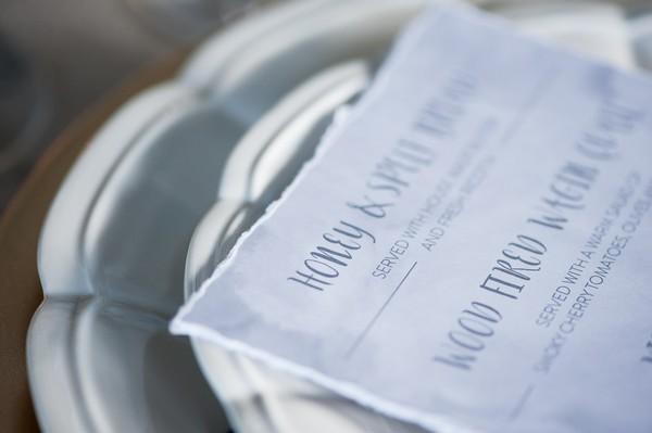 Close-up of wedding menu