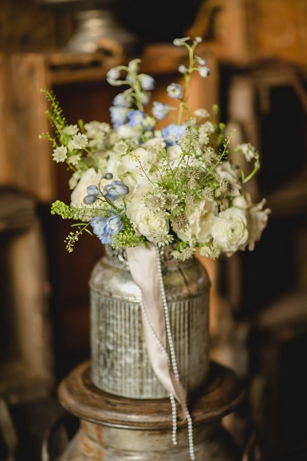 Wedding bouquet in silver urn