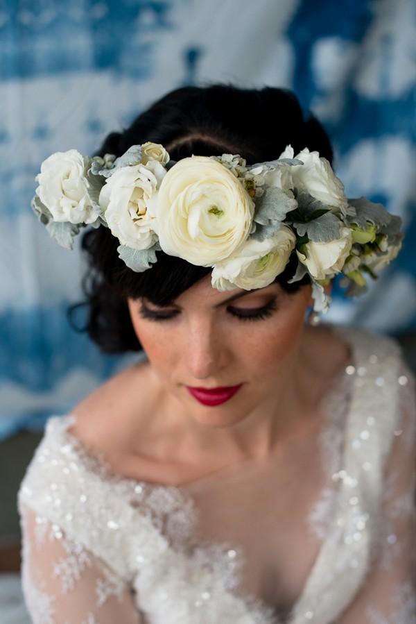 Bride's white flower crown
