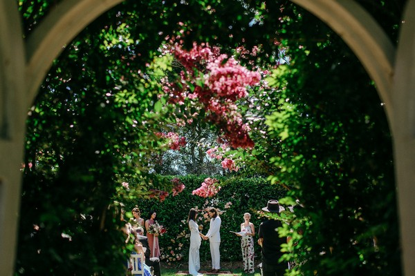 Wedding ceremony in gardens of Merribee