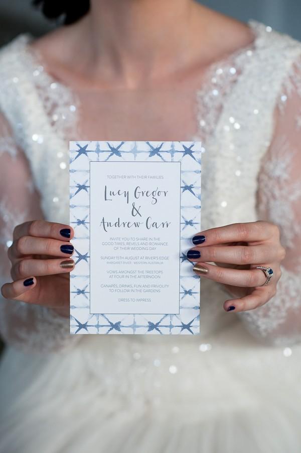 Indigo Shibori style wedding invitation