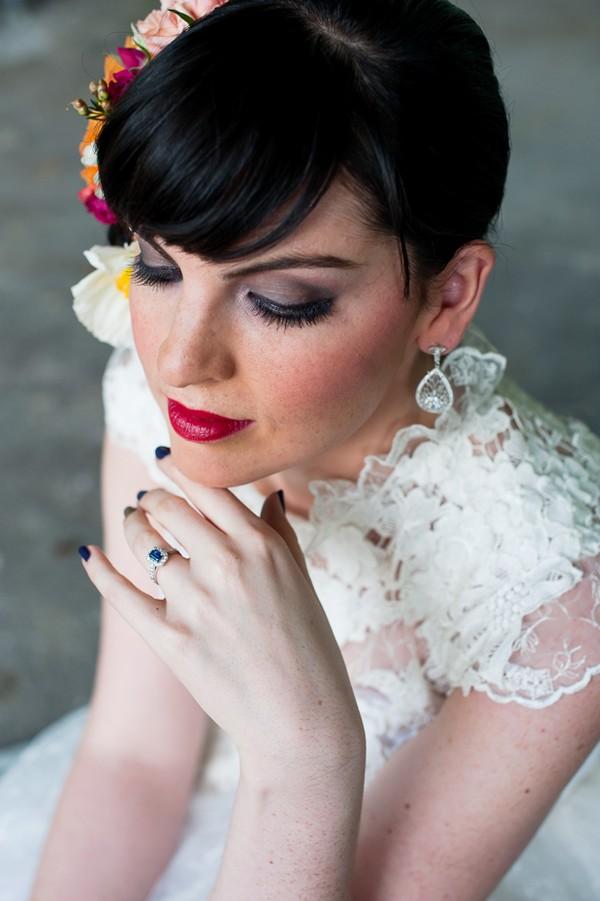 Bride with hand under her chin