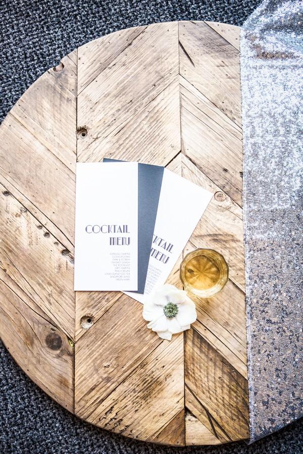 Art deco style cocktail menu