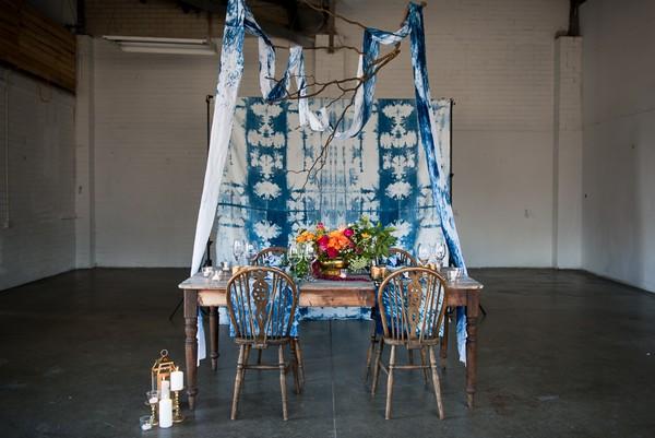 Table with indigo Shibori wedding backdrop