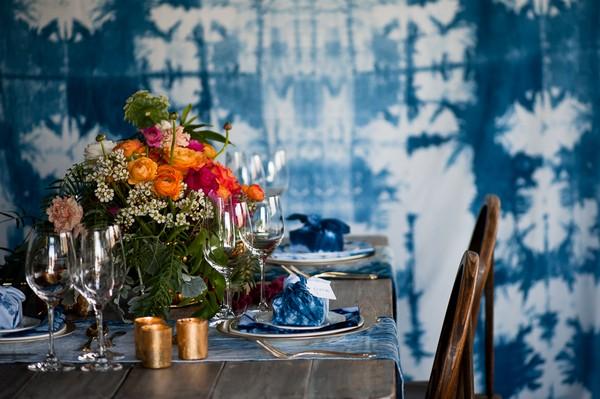 Indigo Shibori backdrop behind wedding table