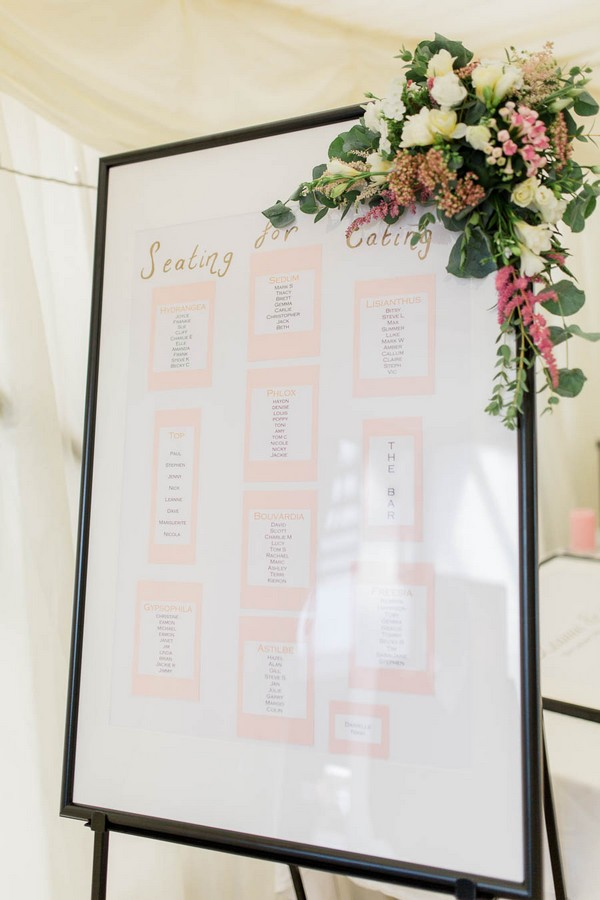 Framed wedding seating plan