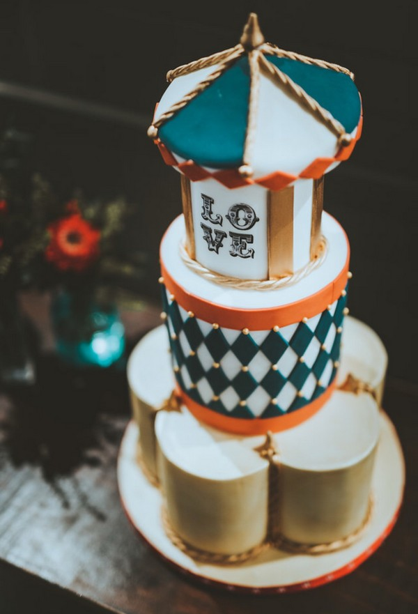 Teal, white and gold wedding cake by Claire's Sweet Temptations