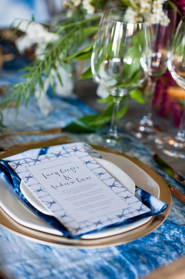 Indigo Shibori style wedding invitation on plate