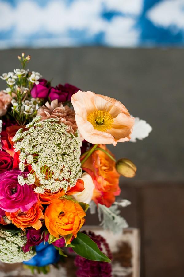 Bright, colourful wedding flowers