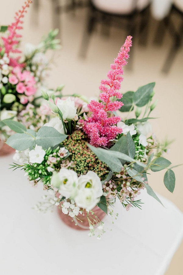 Small floral wedding table displays