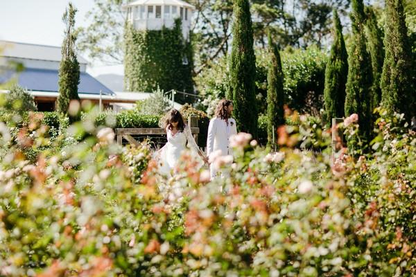 Bride and groom in gardens of Merribee