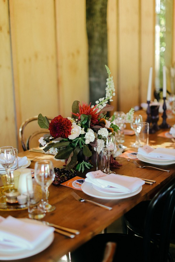 Wedding place settings and table flowers