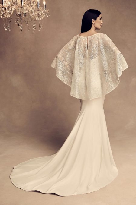 Back of 4805 Wedding Dress with Cape from the Paloma Blanca Fall/Winter 2018 Bridal Collection