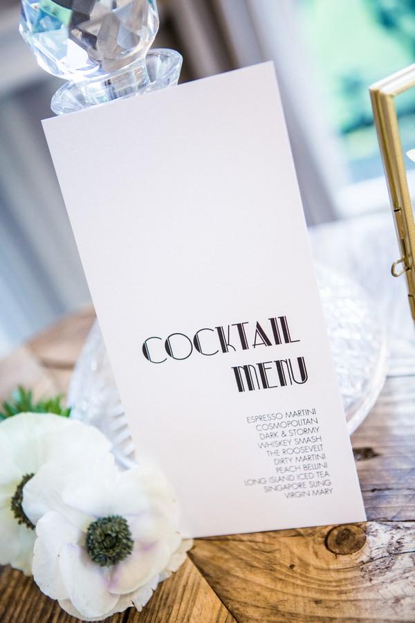 1920s art deco style cocktail menu