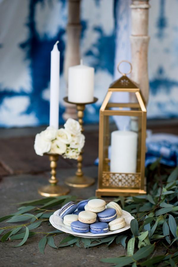 Candles, macarons and lantern