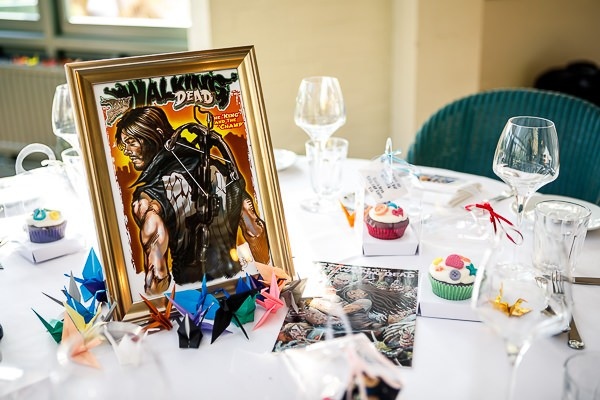 Wedding table with comic book table name