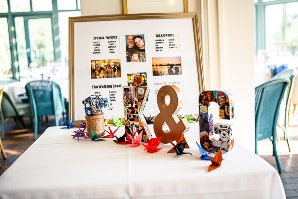 Initials and wedding seating plan on table