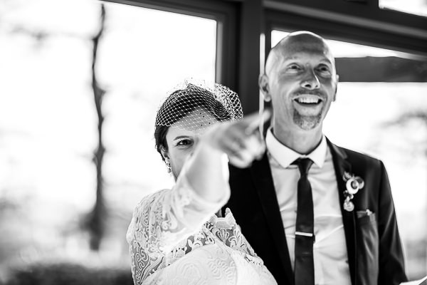 Bride pointing