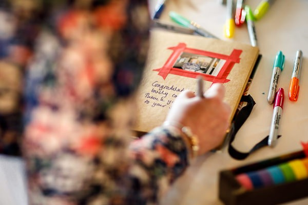 Writing in wedding guest book