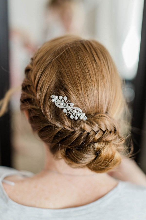 Bride's braided updo wedding hairstyle